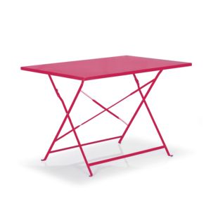 Alinéa - Pims Table de jardin pliante rose en acier 2 à 4 ...