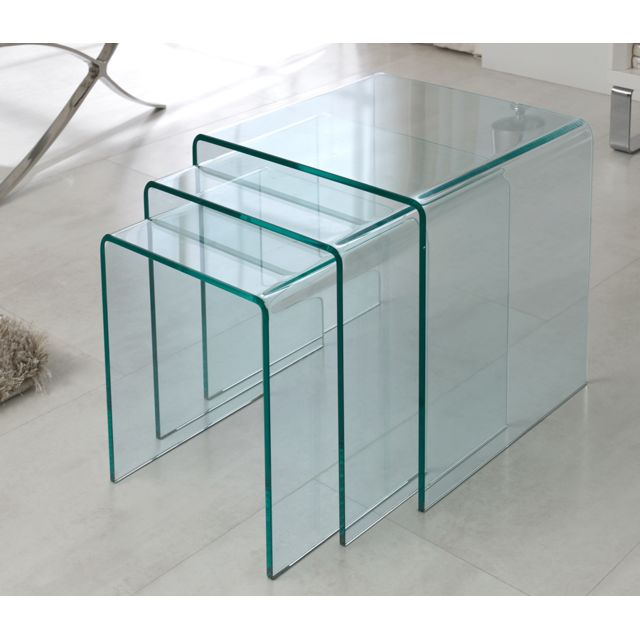 Sofamobili Table basse gigogne en verre blanc ou transparent Light jeux de 3