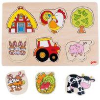 Goki - Puzzle Avec Images CachÉES-FERME, 3 Couches, 12 ÉLÉMENTS