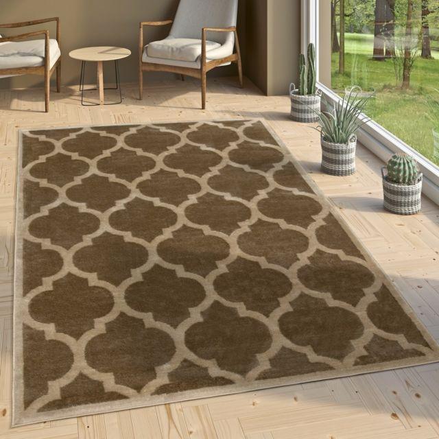 paco home tapis de cr ateur salon tapis tiss plat moderne tendance tapis brun beige 60x100. Black Bedroom Furniture Sets. Home Design Ideas