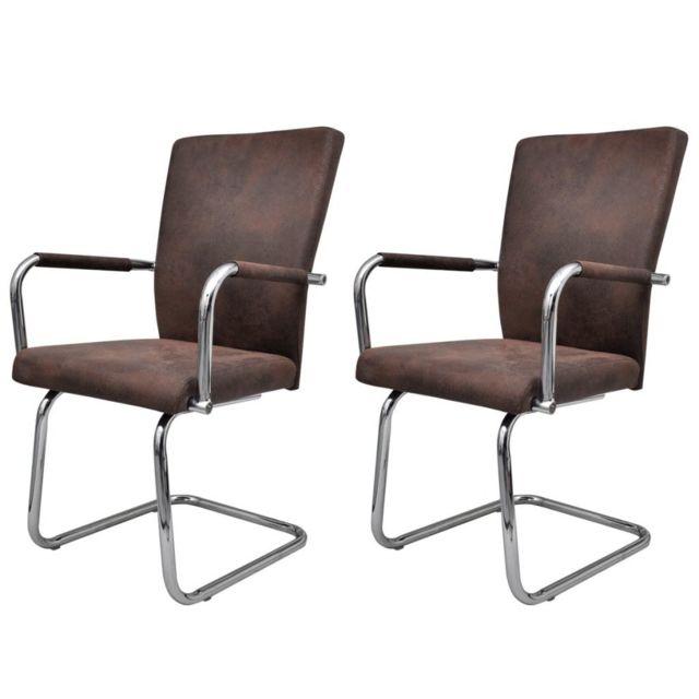 Chaise de salle à manger 2 pcs Cuir synthétique Marron 240993 | Brun