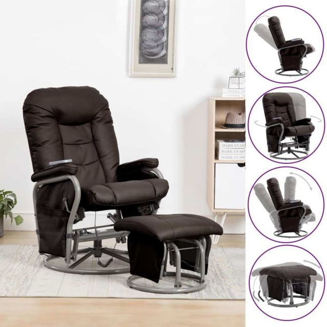 Vidaxl Fauteuil de Massage Repose-pied Marron Basculant Inclinable Pivotant