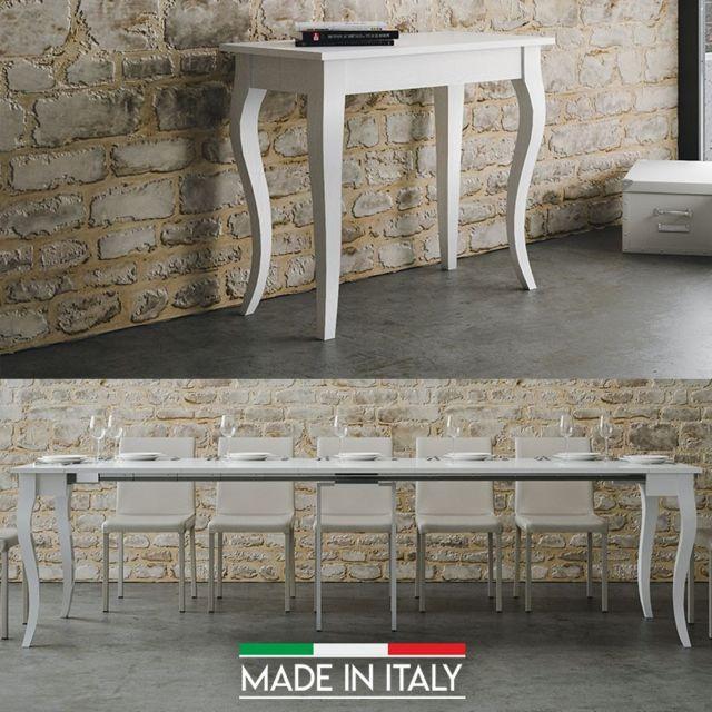 Meubler Design Table Console extensible Olanda - Blanc, Nombre d'extensions - 5 Rallonges