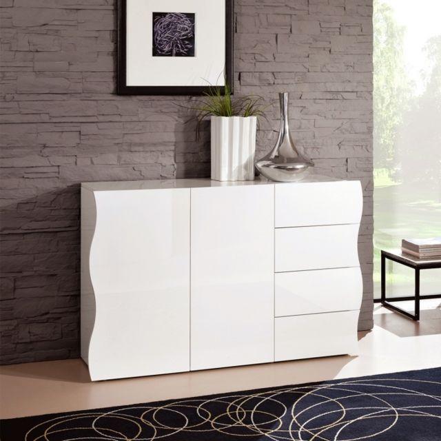Zendart Design Selection Commode à 2 portes et 4 tiroirs blanche laquée 130 x 81 cm Sandra Zendart Sélection