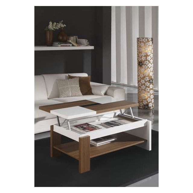 Kasalinea Table basse relevable blanc et noyer contemporaine Violeta - L 110 x P 60 cm