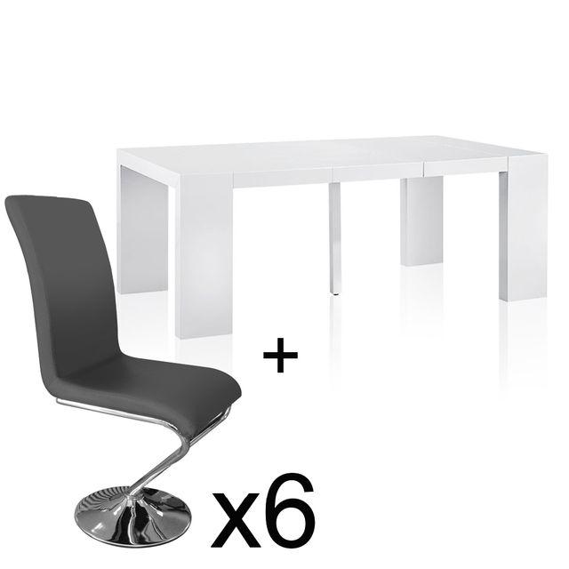 Table extensible Blanc laqué + 6 chaises Colami Gris