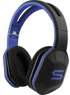Soul Casque sport circum-aural Combat+ micro-casque, pliable, volume réglable, résistant à la sueur bleu, noir