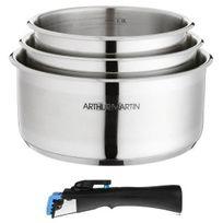 Arthur-Martin Electrolux - Arthur Martin Set 3 casseroles 16/18/20 cm + 1 poignée gris