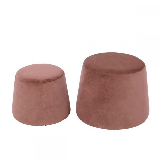 Ego Design - Pouf Velvet velours rose lot de 2 39cm x 47.5cm