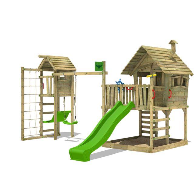 fatmoose aire de jeux en bois wackyworld mega xxl cabane pour enfants avec toboggan balan oire. Black Bedroom Furniture Sets. Home Design Ideas