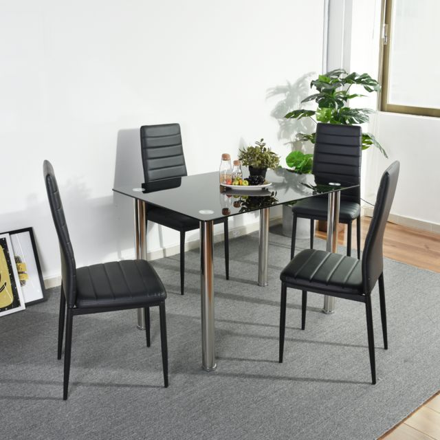 Urban Meuble Ensemble table en verre et lot de 4 chaises
