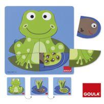 Goula - Encastrement 8 pièces en bois : Puzzle 3 niveaux grenouille
