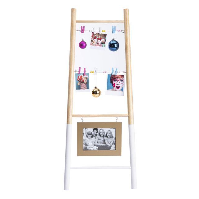 Echelle porte photo en bois avec pinces et cadre doré H90cm