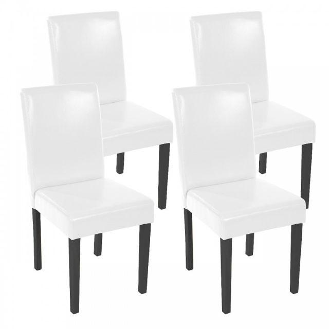 Autre Lot de 4 chaises de salle à manger simili-cuir blanc pieds foncés Cds04148