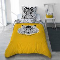 07d53b0cba4409 Selene Et Gaia - Parure housse de couette et taie garçon animaux totem  jaune curry éléphant