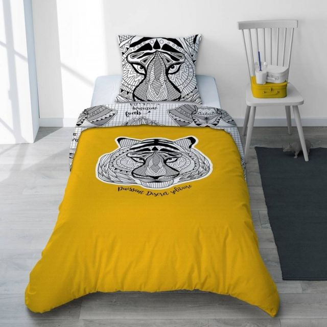 selene et gaia parure housse de couette et taie gar on animaux totem jaune curry l phant. Black Bedroom Furniture Sets. Home Design Ideas