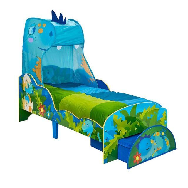 WORLDS APART Lit Enfant Dinosaure avec Ciel de lit et tiroir de Rangement