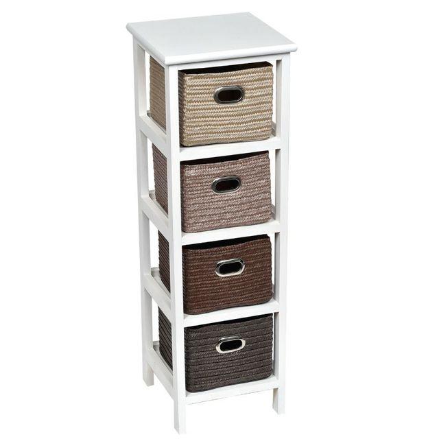 Tendance meuble blanc 4 paniers osier nuance de marron pas cher achat vente meuble bas - Meuble bas avec panier osier ...