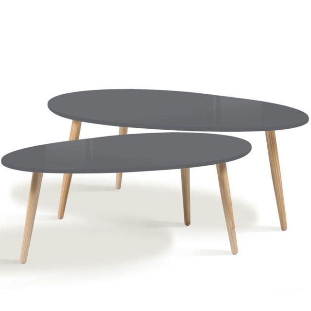 Idmarket - Lot de 2 tables basses gigognes laquées grises scandinave 98cm x 40cm x 60cm