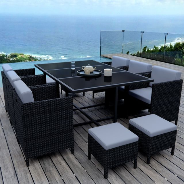 Ims garden munga 10 places ensemble encastrable salon table de jardin r sine tress e noir - Table de jardin encastrable ...