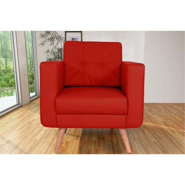 Rocambolesk Canapé fixe Hedvig 1 Pu Soft 10 Rouge sofa divan