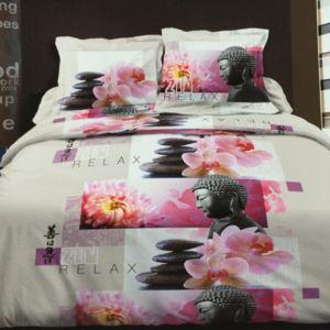 100pourcentcoton housse de couette 220x240 cm microfibre zen relax 1 drap plat 240x300 cm 1. Black Bedroom Furniture Sets. Home Design Ideas