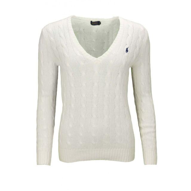 Ralph Lauren - Pull col V Kimberly blanc pour femme - pas cher Achat    Vente Pulls femme - RueDuCommerce ee6d43103a79