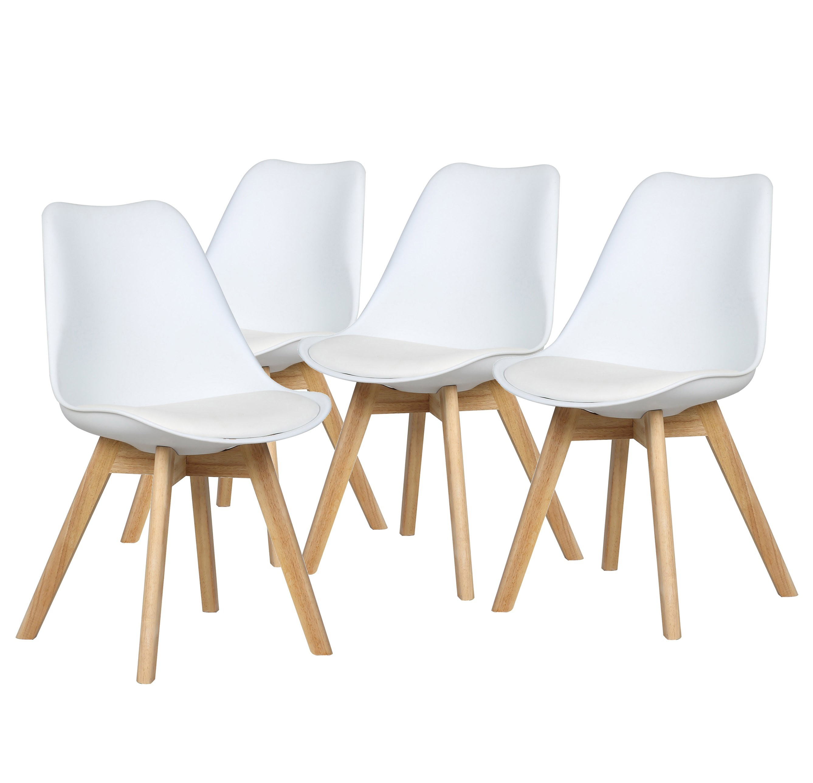 Malmö - Lot de 4 chaises design scandinave - Blanc Pu