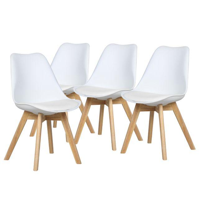 bestmobilier malm lot de 4 chaises design scandinave blanc pu - Lot De Chaises Design Pas Cher