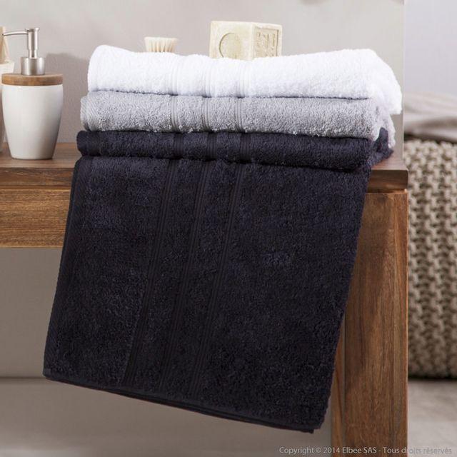 Comptoir Des Toiles Maxi drap de bain uni 100% coton 450gr/m2 100x150cm Jules - Noir
