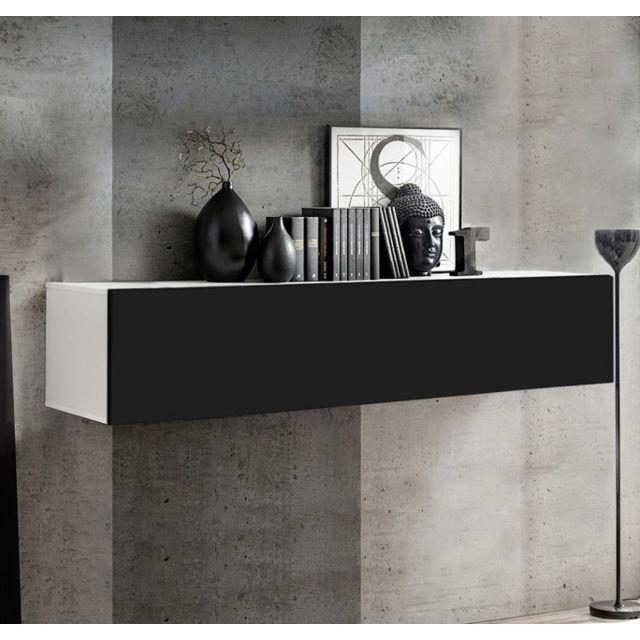 Design Ameublement Armoire mural modèle Krista H-150 150x30cm, blanc et noir