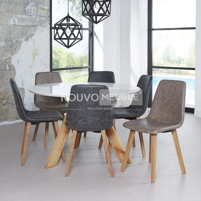 Nouvomeuble Table ronde style scandinave Amarilo