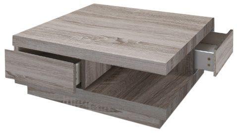 comforium table basse carr e 80x80 cm avec 2 tiroirs coloris sonoma fonc 85cm x 85cm x 35cm. Black Bedroom Furniture Sets. Home Design Ideas