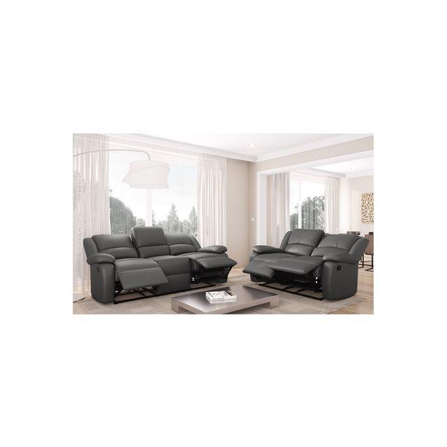 USINESTREET - Ensemble de Canapés Relaxation 3 places et 2 places Simili  cuir noir DETENTE - Couleur - Gris 93cm x 334cm x 96cm Achat   Vente  Canapés pas ... b9726ff8b1c5