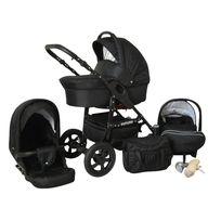 LUX4KIDS - Future 3 en 1 Poussette Combinée roues pivotantes pneumatique Siège Auto Poussette Canne Accessoires 09 noir
