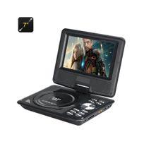 Auto-hightech - Lecteur Dvd portable 7 pouces large écran couleur Tft, eBook, Radio Fm, contrôleur de jeu, Antenne Tv Noir