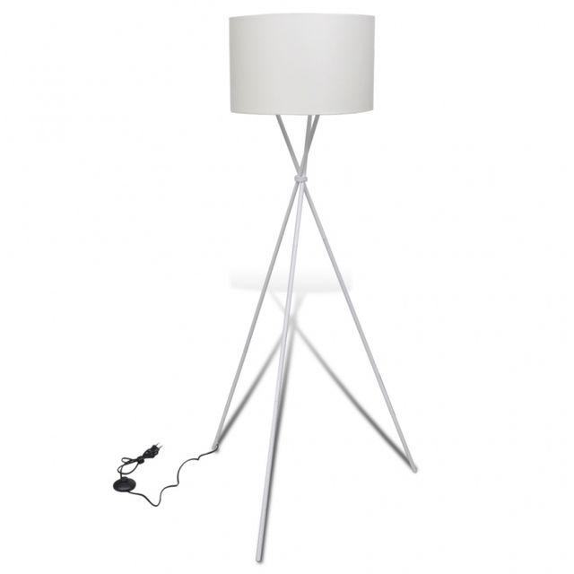 Casasmart Lampe de sol à long trépied Blanc