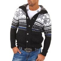 Carisma - Gilet / Veste en laine noir à motifs