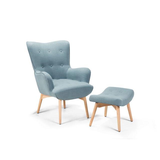 BELIANI Fauteuil en tissu bleu avec repose-pieds VEJLE - bleu