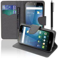 Vcomp - Housse Coque Etui portefeuille Support Video Livre rabat cuir Pu effet tissu pour Acer Liquid Z630/ Z630S + stylet - Noir