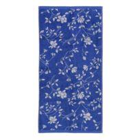 Linnea - Serviette invité 33x50 cm 100% coton 480 g/m2 Floral Bleu