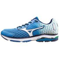 Mizuno - Wave Rider 18 Blanche Et Bleue Chaussures de running homme