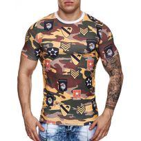 Monsieurmode - T-shirt homme militaire T-shirt 663 jaune camouflage
