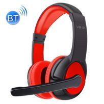 Wewoo - Pour iPad, iPhone, Galaxy, Huawei, rouge Xiaomi, Lg, Htc et autres smartphone écouteurs stéréo de casque Bluetooth avec micro, Fm de Carte Tf