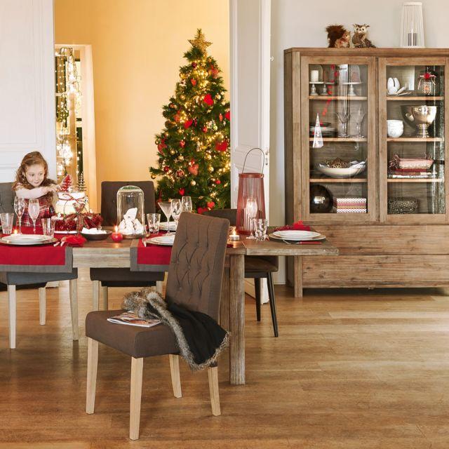 alin a toundra vaisselier buffet avec vitrine et tiroirs en acacia lamell coll pas cher. Black Bedroom Furniture Sets. Home Design Ideas
