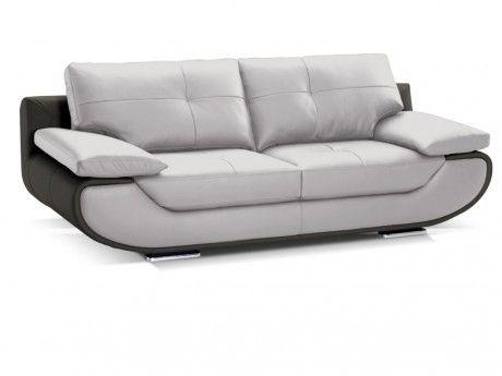LINEA SOFA Canapé 2 places cuir luxe ORGULLOSA - Bicolore gris et anthracite