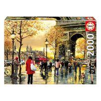 Educa - Puzzle 2000 pièces : Coucher de soleil pluvieux sous l'Arc de Triomphe