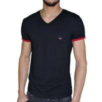 Armani - Emporio - Tshirt Manches Courtes - Homme - Underwear 110810 5a725 V Neck - Noir Rouge