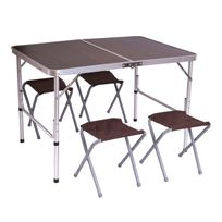 Mendler - Garniture de camping T368, salon de jardin, table pliable + 4 tabourets ~ 67x100x70cm