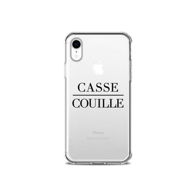 coque iphone xr casse couille transparente souple maryline cazenave